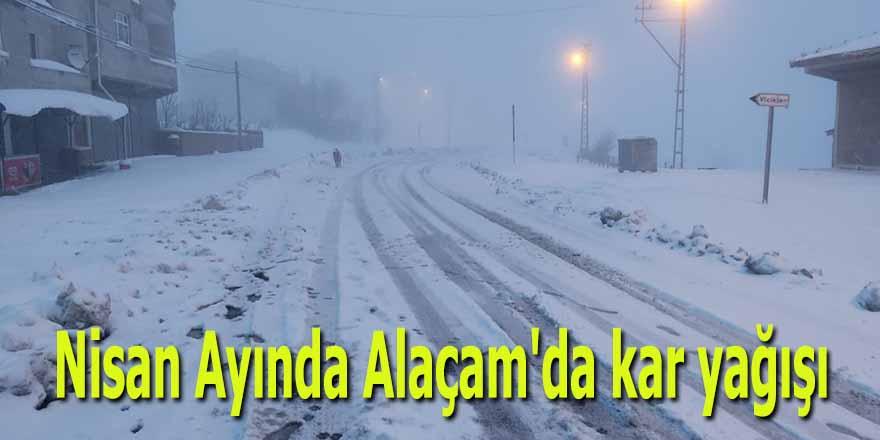 Nisan Ayında Alaçam'da kar yağışı