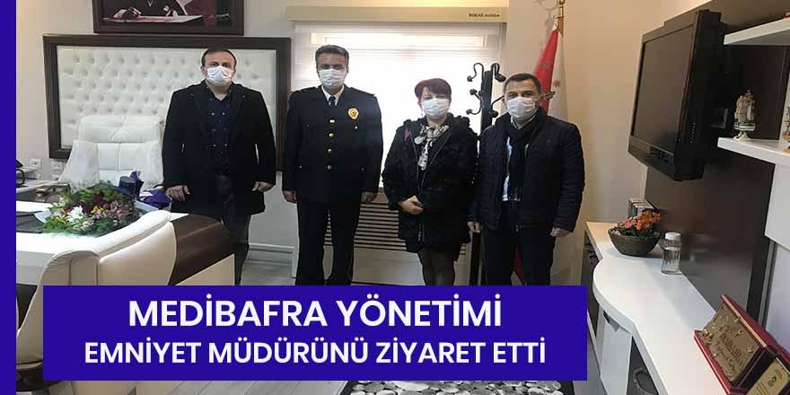 Medibafra Hastanesi yönetimi Bafra İlçe Emniyet Müdürü'nü ziyaret etti