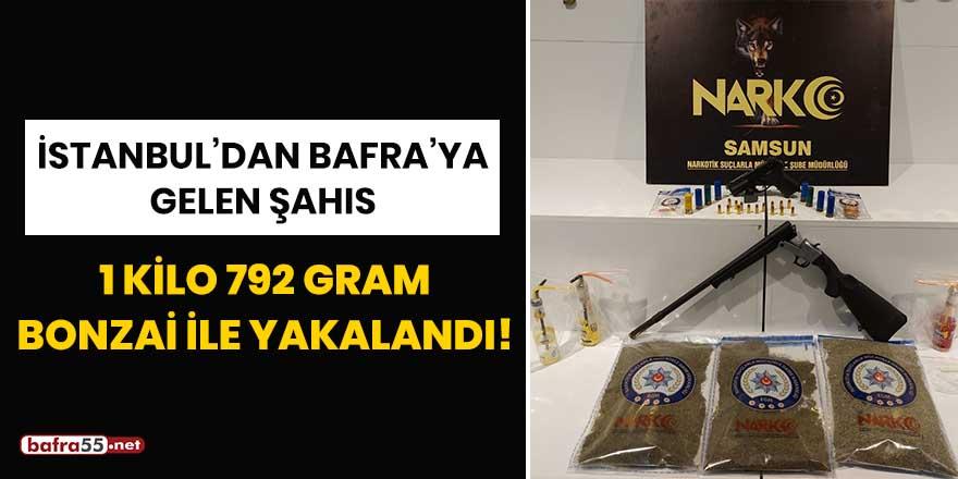 İstanbul'dan Bafra'ya gelen şahıs 1 kilo 792 gram bonzai ile yakalandı!