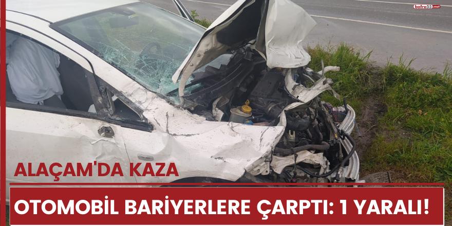 Alaçam'da otomobil bariyerlere çarptı: 1 yaralı