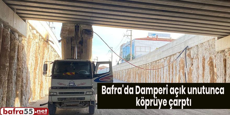 Bafra'da Damperi açık unutunca köprüye çarptı