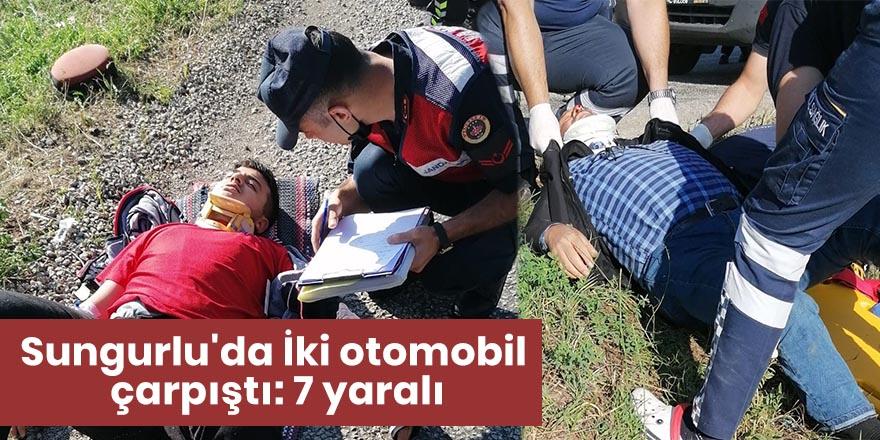 Sungurlu'da İki otomobil çarpıştı: 7 yaralı