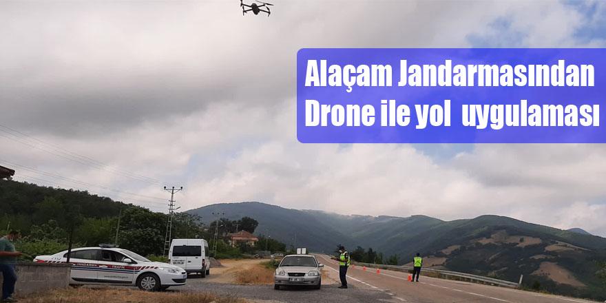 Alaçam Jandarmasından Drone ile yol  uygulaması
