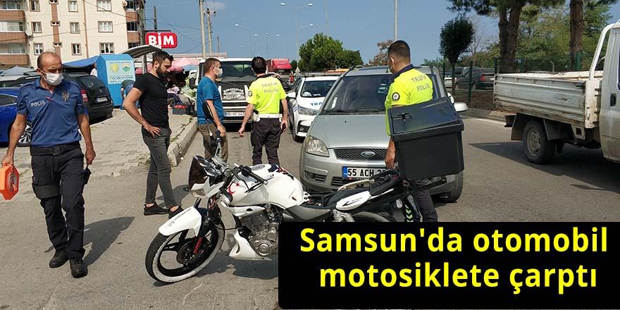 Samsun'da otomobil motosiklete çarptı