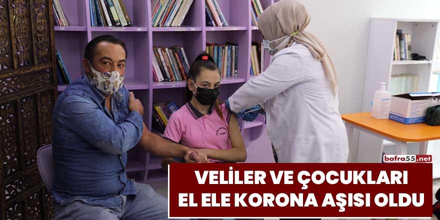 Veliler ve çocukları korona aşısı oldu