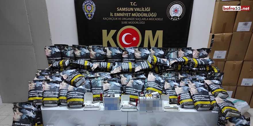 Samsun'da 7 bin 600 adet kaçak makaron ve 93 kilo tütün ele geçti