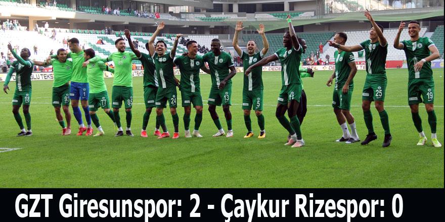 GZT Giresunspor: 2 - Çaykur Rizespor: 0