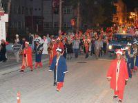 Alaçam'da demokrasi nöbetine Mehter damgası