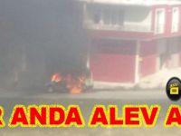 Bafra`da bir araç yandı