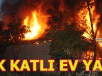 Bafra'da ev cayır cayır yandı