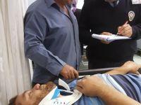 Canik'de çatıdan kişi yaralandı