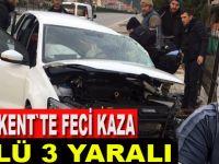 Otomobil ile traktör çarpıştı: 1 ölü, 3 yaralı