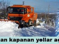 Alaçam'da ve Yakakent'de kardan kapanan yollar açılıyor