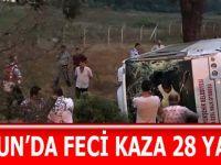 Samsun'da Halk Otobüsü Tır'a çarptı 28 yaralı