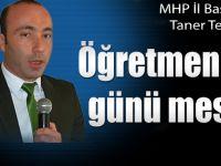 MHP İl Başkanı öğretmenler günü mesajı