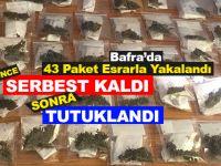 Bafra'da 43 Paket Esrarla Yakalanan Şahıs Tutuklandı