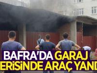 Bafra'da Garajda Araba Yandı