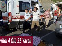 Traktör Devrildi 4 Ölü 22 Yaralı