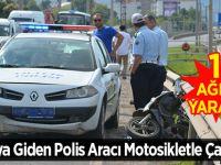 Ordu'da kazaya giden polis aracı motosikletle çarpıştı