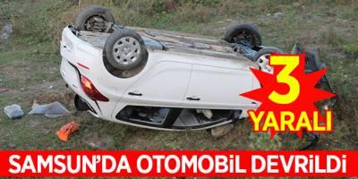 Samsun'da otomobil devrildi: 3 yaralı