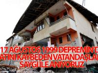17 AĞUSTOS 1999 depreminde hayatını kaybeden vatandaşlarımızı saygı ile anıyor, ailelerine sabır diliyoruz.