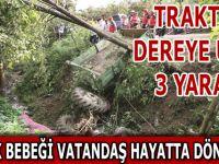 Bafra'da Traktör Dere'ye Uçtu 3 Yaralı