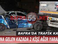 Bafra'da Trafik Kazası; 2 Ağır Yaralı