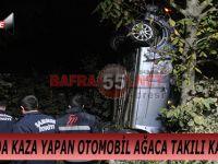 BAFRA'DA KAZA YAPAN OTOMOBİL AĞACA TAKILI KALDI !!!