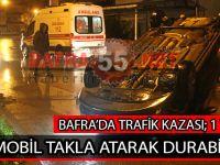 BAFRA'DA OTOMOBİL TAKLA ATARAK DURABİLDİ !!!