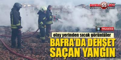 Bafra'da Evin Çatısında Çıkan Yangın Korku Saçtı