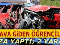 Sınava Giden Öğrenciler Kaza Yaptı; 2 yaralı