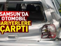 Samsun'da otomobil bariyerlere çarptı