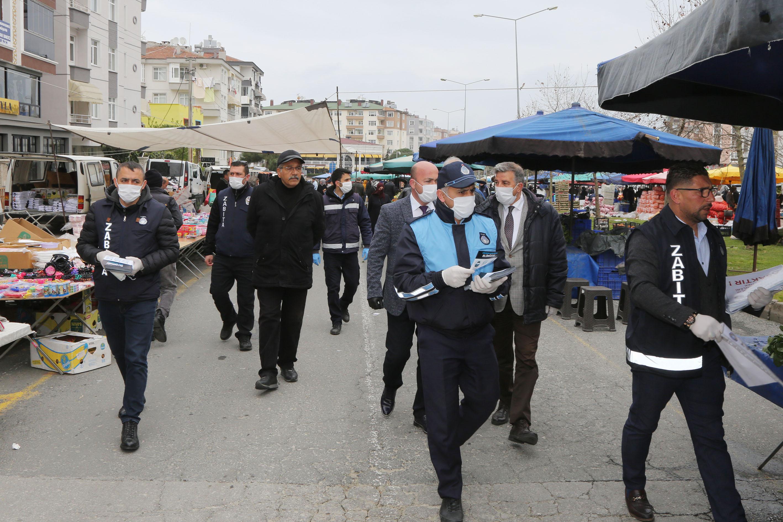 Atakum Zabıtası'ndan pazarda salgın önlemi